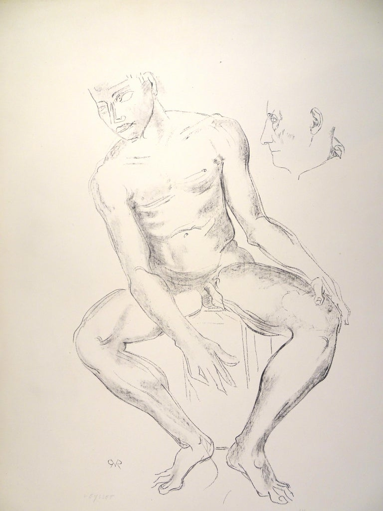Male Nude is an original lithograph on paper by Raymond Veysset.  Hand-signed on the lower left. Numbered on the lower right. Edition of VIII in Roman numerals. Monogram of the artist on plate on the lower left.  Very good conditions.  Very elegant