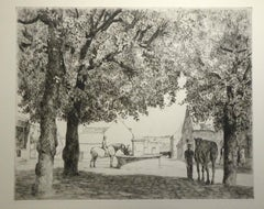French Countryside with Horses - Original Etching by Eugene Corneau - XX Century