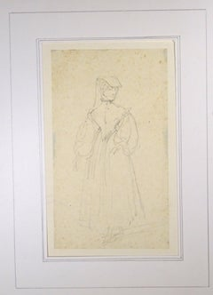 La Sorrentine - Original Pencil Drawing by Horace Vernet - Mid 1800