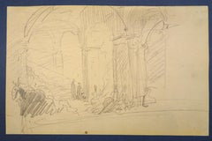 Colonnade - Original Pencil Drawing by Horace Vernet - Mid 1800