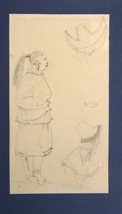 Caricatures - Original Pencil Drawing by Horace Vernet - Mid 1800