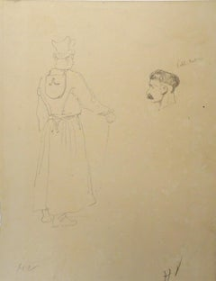 Portraits - Original Pencil Drawing by Horace Vernet - Mid 1800