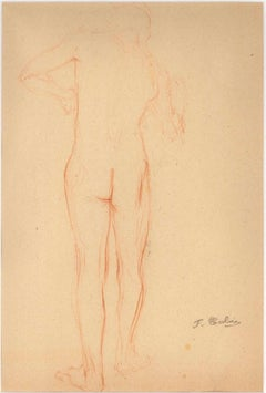 Sketched Red Nude From Behind - Pencil Drawing End of 19th Century
