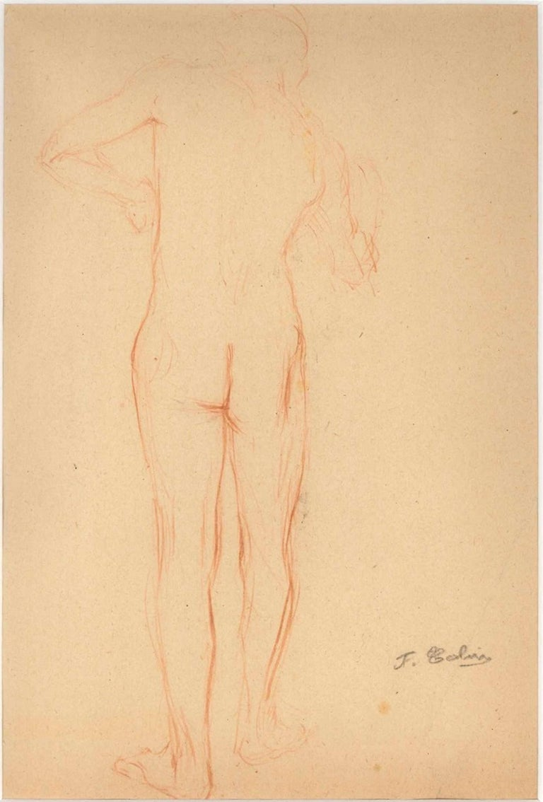 Sketched Red Nude From Behind - Pencil Drawing End of 19th Century - Art by Unknown