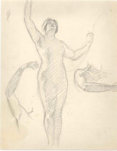 Standing Nude with Studies - Pencil Drawing End of 19th Century