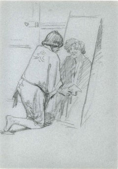 Figure in the Mirror - Pencil Drawing Mid 20th Century
