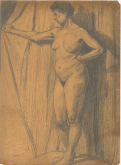 Standing Nude in Profile - Pencil Drawing Early 20th Century