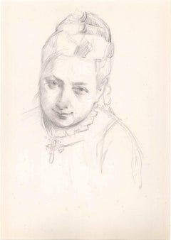 Portrait of a Woman - Original Pencil Drawing Late 19th Century
