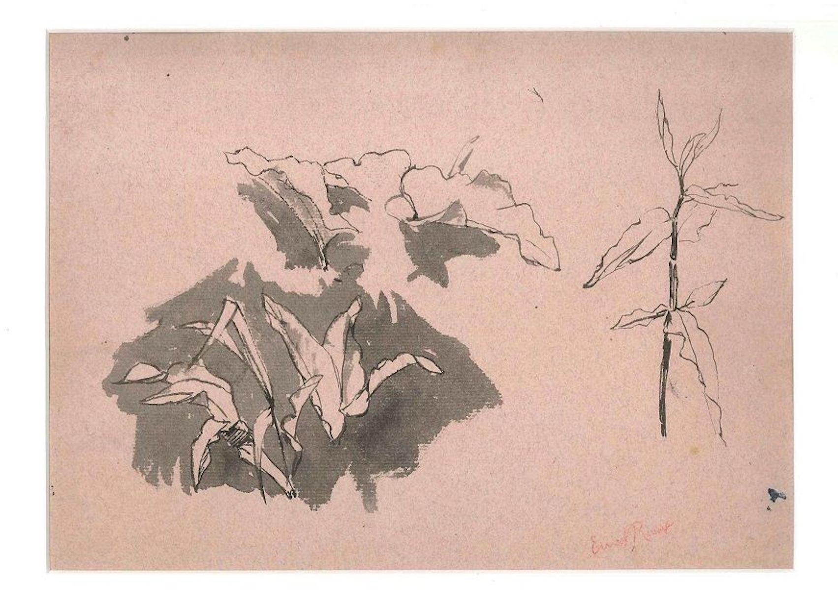 Leak Sketches - Original Pencil Drawing by Ernest Rouart - 1890s