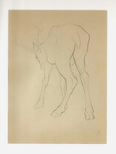 Deer From Behind - Original Pencil Drawing by Ernest Rouart - 1890s