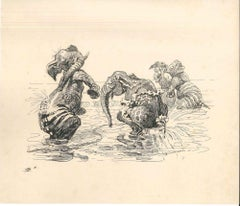 Elephants Playing In The Water - Original Ink Drawing by Lac Man