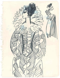 Sketch for a Costume - Original Penmark on Paper by A. Matheos