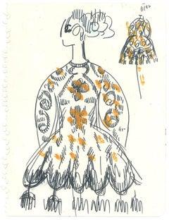 Sketch for a Female Costume - Original Penmark and Tempera by A. Matheos