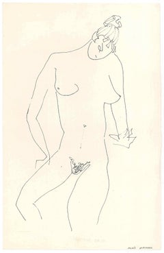 Sketched Female Nude - Original China Ink on Paper by A. Matheos