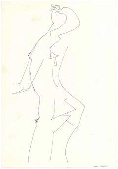Female Silouhette  - Original China Ink on Paper by A. Matheos