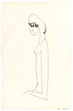 Stylized Female Nude  - Original China Ink on Paper by A. Matheos