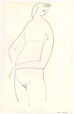 Stylized Nude in Profile - Original China Ink on Paper by A. Matheos