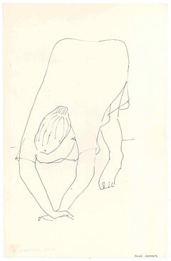 Female Figure with Hands Down  - Original China Ink on Paper by A. Matheos