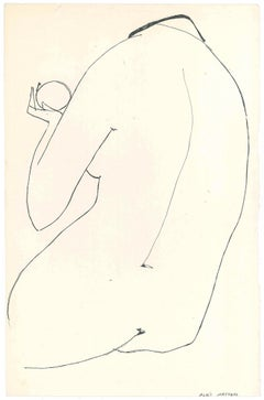 Big Nude  - Original China Ink on Paper by A. Matheos