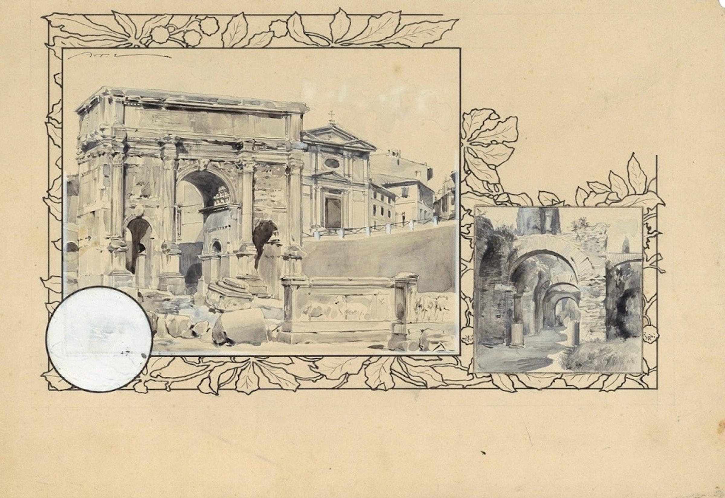 Settimio Severo Triumphal Arch - Original China Ink Drawing by A. Terzi - 1899
