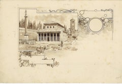 San Lorenzo Church - Original China Ink Drawing by A. Terzi - 1899