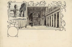 Santa Maria Maggiore and Coliseu - Original China Ink Drawing by A. Terzi - 1899