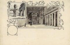 Santa Maria Maggiore and Coliseu - Original China Ink Drawing by A. Terzi - 1899