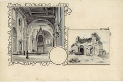 San Giovanni and Minerva Temple - Original China Ink Drawing by A. Terzi - 1899