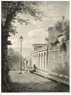 Interieur de Geneve. Un Coin De La Treille - Lithograph by A. Fontanesi