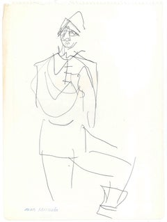 Sketch for a Costume  - Original China Ink on Paper by A. Matheos