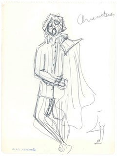 Sketch for a Prince Costume   - Original China Ink on Paper by A. Matheos