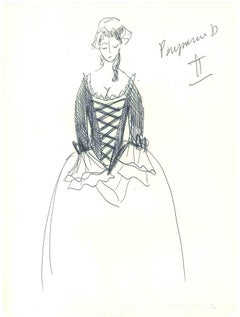 Sketch for a Peasant Costume    - Original China Ink on Paper by A. Matheos