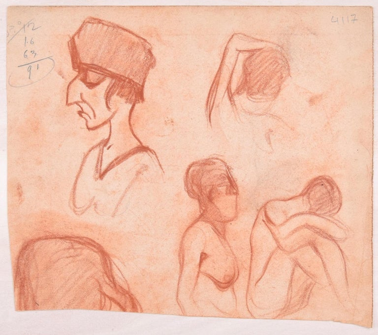 Studies for Female Nudes - Original Pencil Drawing by D. Ginsbourg - 1918 - Art by Daniel Ginsbourg
