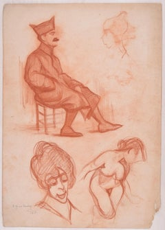 Studies For Several Figures - Original Pencil Drawing by D. Ginsbourg - 1918