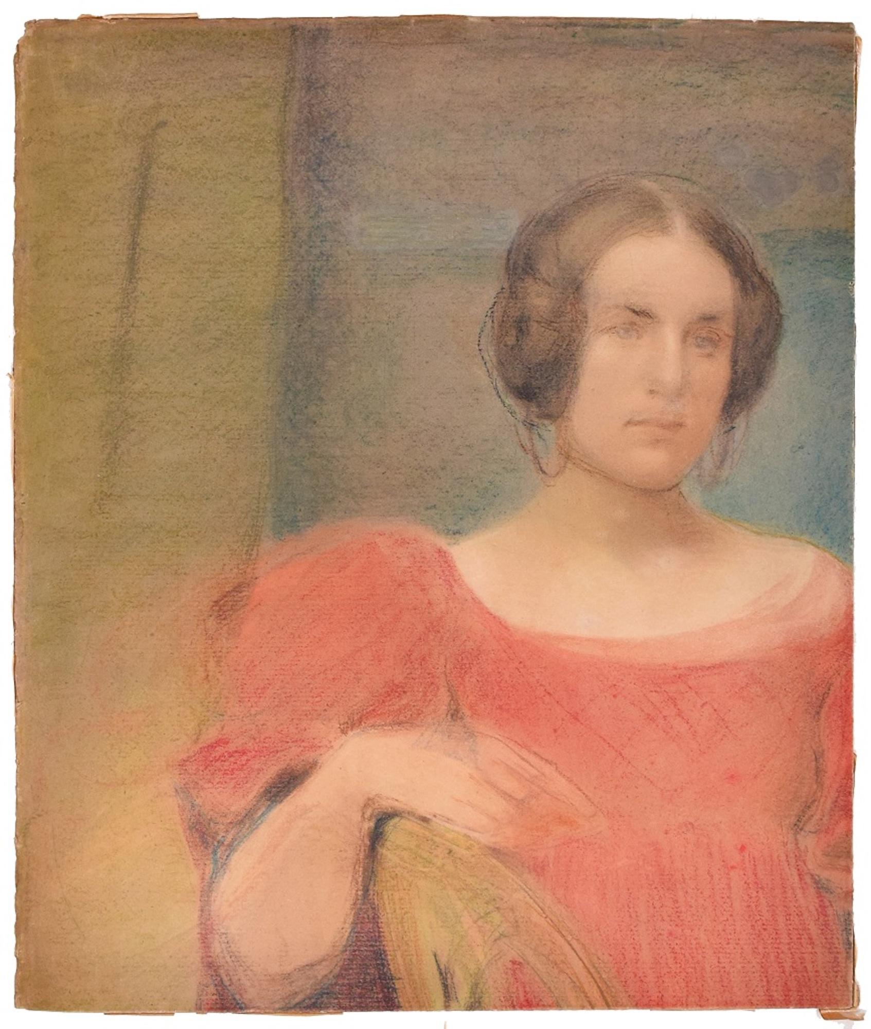 Woman in Red - Original Pastel Drawing Early 1900