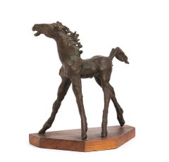 Horse  - Original Bronze Sculpture by A. Murer - 1975