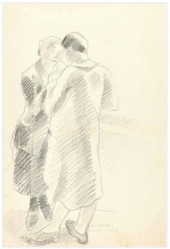 Couple of Lovers - Original Pencil Drawing by Ildebrando Urbani