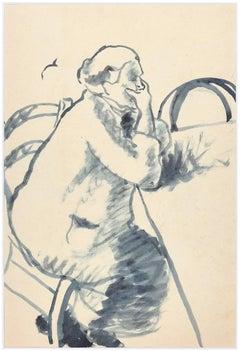 Woman Thinking - Original Watercolor  by Ildebrando Urbani - 1930s