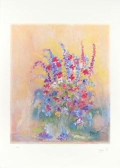 Les Fleurs - Original Lithograph by Martine Goeyens - 21th Century