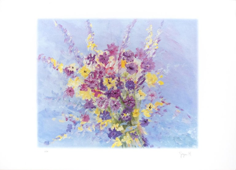 Bouquet is an original colored lithograph on cream-colored paper print realized by Martine Goeyens in the 2000's.  This contemporary artwork, representing a  colorful bouquet of flowers, is hand-signed in pencil by the artist on the lower right