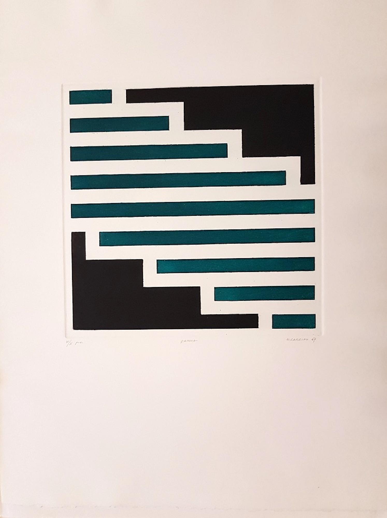 Gamma - Original Etching by Nicola Carrino - 1969