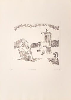 The Violinist - Original Etching by Adam Moussa - 1974