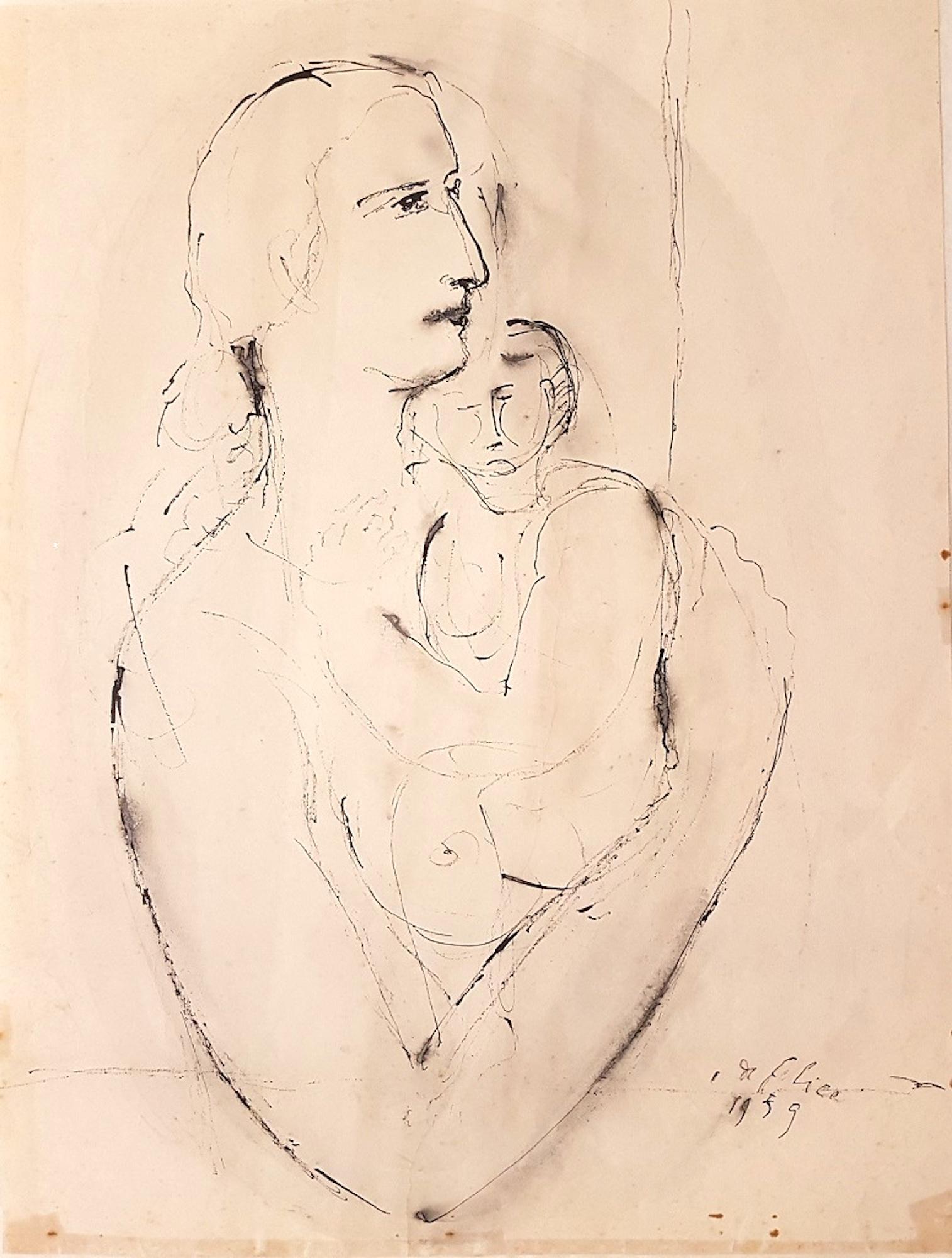 Woman with Baby - Original Ink Drawing by Aurelio De Felice - 1959