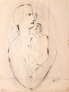 Woman with Baby - Original Ink Drawing by Aurelio De Felice - 1959
