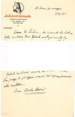 """About the New York Exihibition""- Letter by C. Carrà to L. de Libero - 1937"