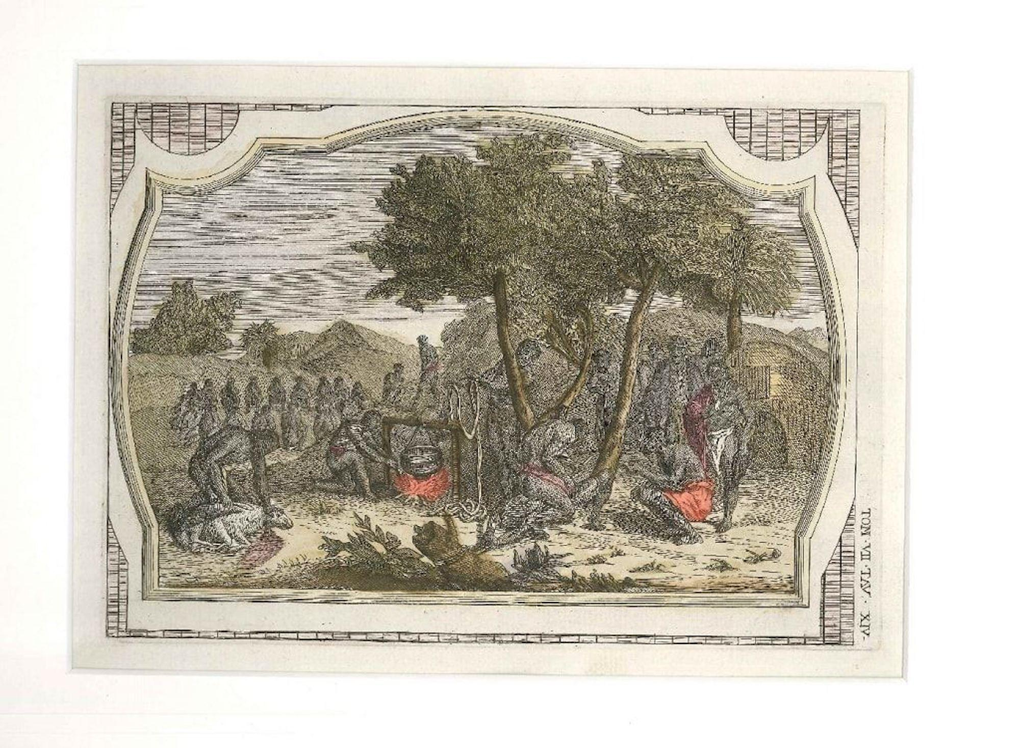 Sacrifices Among the Natives - Original Color Etching by G. Pivati - 1746-1751
