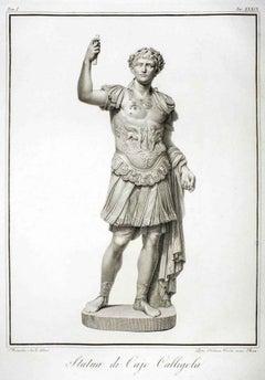 Statue of Calligola - Original Etching by P. Fontana After B.Nocchi - 1794