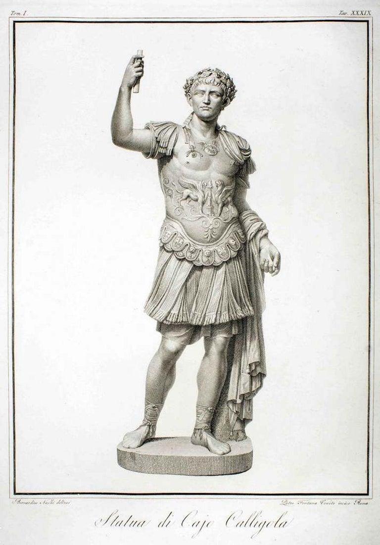 Pietro Fontana Figurative Print - Statue of Calligola - Original Etching by P. Fontana After B.Nocchi - 1794