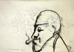 Angels and Demons (Portrait of Giorgio Morandi) - Charcoal and Ink by M. Maccari