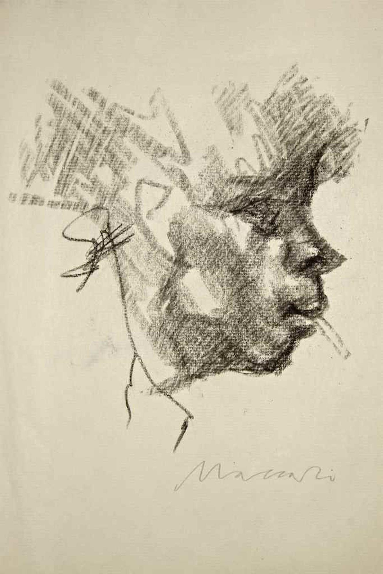 The Smoker (Portrait of Ottone Rosai) - Charcoal Drawing by M. Maccari - 1940/50